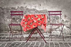 Colorful provencal table with two chairs Stock Images