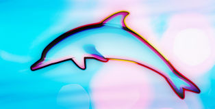 Colorful psychedelic dolphin jumping. Colorful psychedelic background with a dolphin jumping vector illustration