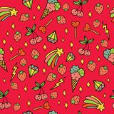 Colorful psychedelic doodle pattern with strawberries, stars, ice-creams etc. Doodle seamless background. Vector art.  royalty free illustration