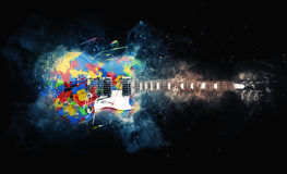 Colorful psychedelic rock guitar. Grunge illustration stock illustration