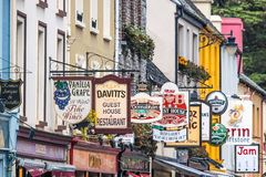 Colorful pub signs in Kenmare Stock Photography