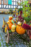Colorful pumpkins arrangement on handcart Royalty Free Stock Photos