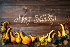 Free Colorful Pumpkins As Autumn Season Decoration, Text Happy Birthday Royalty Free Stock Images - 198209389