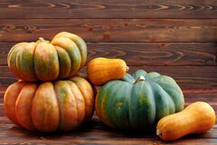 Colorful pumpkins on brown wooden background front view