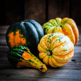 Colorful pumpkins on wooden background Royalty Free Stock Photography