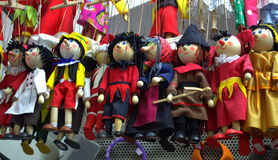 Colorful puppets. Puppets display at souvenir ,Old Town Prague .Czech Republic,Central Europe stock image