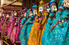 Colorful puppets in India. Puppets in beautifully bright colors in India Royalty Free Stock Photo