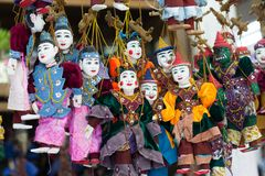 Colorful Puppets from Myanmar. Colorful Myanmar puppets at the Bogyoke Aung San Market (Scott's Market stock photography