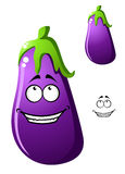 Colorful purple cartoon eggplant vegetable Stock Photos