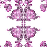 Colorful purple lace seamless pattern vintage butterfly wings. India design Royalty Free Stock Image