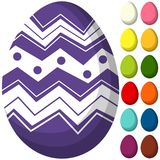 Colorful purple ultra violet easter chocolate pattern cover egg poster. Bright holiday vector illustration for gift card certificate banner sticker, badge sign Royalty Free Stock Photos