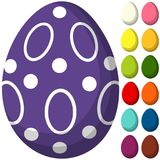 Colorful purple ultra violet easter chocolate pattern cover egg poster. Bright holiday vector illustration for gift card certificate banner sticker, badge sign Stock Images