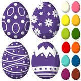 Colorful purple ultra violet easter chocolate pattern cover egg set poster. Bright holiday  illustration for gift card certificate banner sticker, badge sign Royalty Free Stock Photography