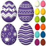 Colorful purple ultra violet easter chocolate pattern cover egg set poster. Bright holiday  illustration for gift card certificate banner sticker, badge sign Stock Images