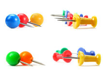 Colorful push pins collage isolated Royalty Free Stock Photo