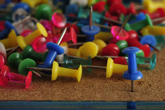 Colorful push pins Royalty Free Stock Photo