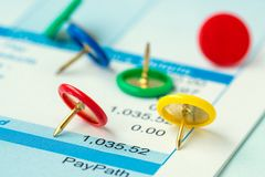 Free Colorful Push Pins On Payroll Background Stock Photos - 149262113