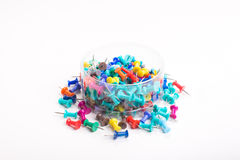 Colorful push pins set. With shadows  on white Stock Image