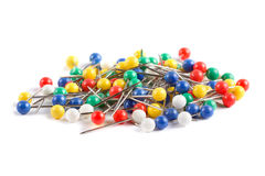 Colorful push pins on white Royalty Free Stock Image