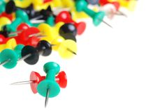 Colorful pushpins royalty free stock images