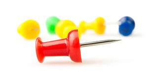 Colorful pushpins Stock Photos