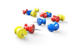 Colorful pushpins 3d models Royalty Free Stock Image