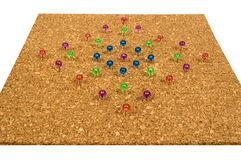 Colorful Pushpins In Corkboard Isolated On White Stock Photo