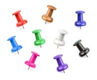 Colorful Pushpins isolated on white background Stock Image