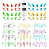Colorful pushpins and paperclips binders, stationer elements. To royalty free illustration