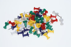 Colorful pushpins or pushneedles. On white ground Stock Photos