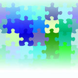 Colorful Puzzle. Connected, colorful puzzle in blues, greens and purples with soft blur on bottom for copy space Stock Photo