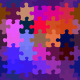 Colorful Puzzle. Connected, colorful puzzle in rich blue and purple tone colors Stock Photography