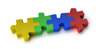 Colorful puzzle. Four puzzle pieces interconnected with each other over white background Royalty Free Stock Photos
