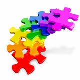 Colorful Puzzle. Colorful pieces of a rubber jigsaw puzzle on a white background stock illustration