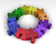 Colorful puzzle circle. Colorful jigsaw puzzle interconnected in a circle. 3D rendered reflective on white background Stock Photo