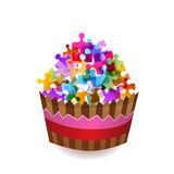 Colorful puzzle cup cake Royalty Free Stock Image