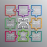 Puzzle. Infographics. Rectangle 9 Steps Puzzle. Colorful Puzzle Four Piece Business Presentation. Infographics. Rectangle 9 Steps Process Diagram Card. Section stock illustration