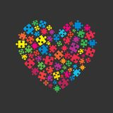 Colorful Puzzle Heart. Jigsaw Logotype. Love. Many Colorful Piece Puzzle Heart. Icon Vector Puzzle Illustration Isolated on White Background. Jigsaw Puzzle vector illustration