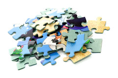 Colorful puzzle isolated on white Stock Photos