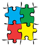 Colorful Puzzle Pieces. Render of jigsaw puzzle pieces in 4 colors royalty free illustration