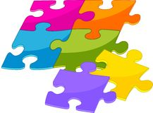 Colorful puzzle pieces Stock Photo