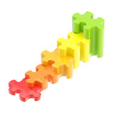 Colorful puzzle pieces as a staircase to success Stock Photos