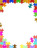 Colorful puzzle pieces border template Stock Photos