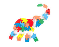 Colorful puzzle pieces in elephant shape Royalty Free Stock Photography