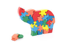 Colorful puzzle pieces in elephant shape Royalty Free Stock Image