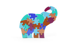 Colorful puzzle pieces in elephant shape Royalty Free Stock Images