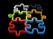 Colorful puzzle pieces that fit together. 3D outlines Stock Photos