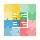 Colorful puzzle pieces forming a square swot diagram Stock Images