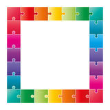 Colorful puzzle pieces forming a square swot diagram Stock Photo