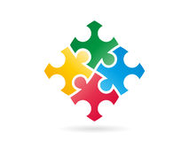 Colorful puzzle pieces forming a whole square in movement. Vector graphic illustration template. Stock Photo